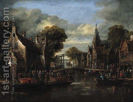 A village by a river with ferries by a bridge and peasants outside an inn by (after) Rutger Verburgh - Reproduction Oil Painting