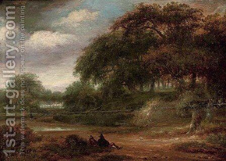 A wooded river landscape with travellers resting on a track by (after) Salomon Rombouts - Reproduction Oil Painting