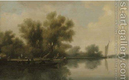 A wooded river landscape with a ferry and other boats by (after) Salomon Van Ruysdael - Reproduction Oil Painting