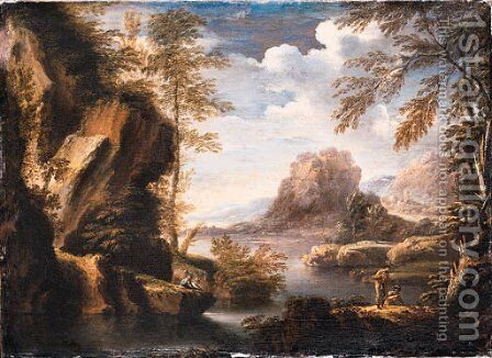 A mountainous river Landscape with Peasants conversing on a Bank by (after) Rosa, Salvator - Reproduction Oil Painting