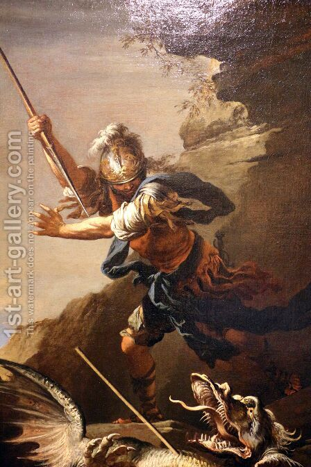 Saint George and the Dragon by (after) Rosa, Salvator - Reproduction Oil Painting