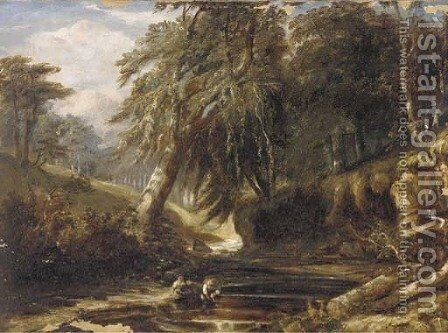Children playing by the River Kelvin, Scotland by (after) Samuel Bough - Reproduction Oil Painting