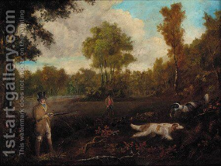 Two gentlemen shooting with their dogs by (after) Samuel John Egbert Jones - Reproduction Oil Painting
