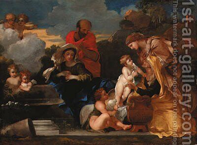 The Holy Family with the infant Saint John the Baptist and Saints Anne and Elizabeth by (after) Sebastien Bourdon - Reproduction Oil Painting