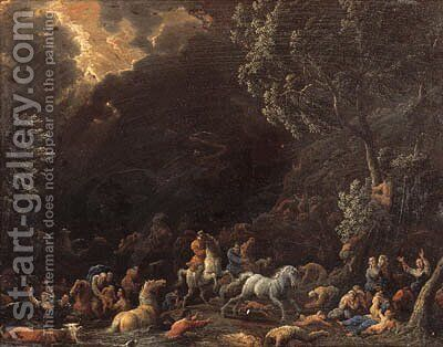 The Garden of Eden; and The Deluge by (after) Sebastien Cock - Reproduction Oil Painting
