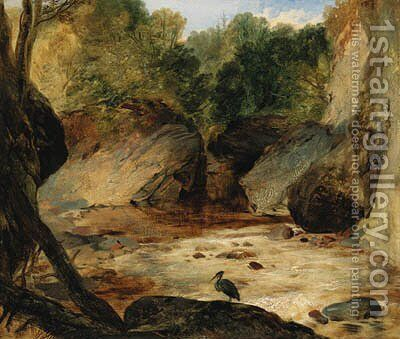 A rocky river landscape with a heron by (after) Sir Edwin Henry Landseer - Reproduction Oil Painting