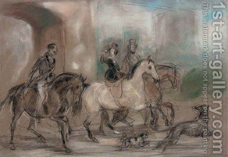 Queen Victoria riding out at Windsor Castle by (after) Sir Francis Grant - Reproduction Oil Painting
