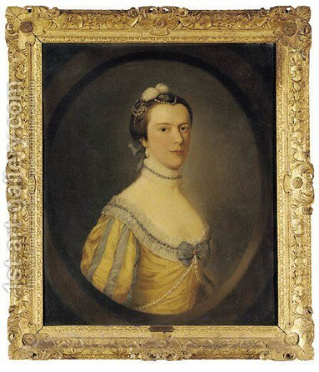 Portrait of a lady by (after) Sir George Chalmers - Reproduction Oil Painting