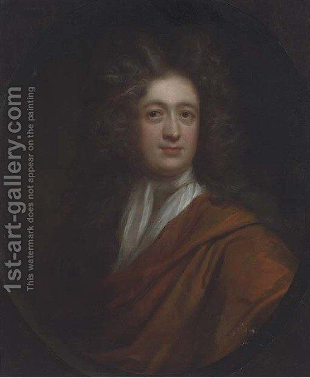 Portrait of Edmund Rooke, bust-length, in an orange wrap by (after) Kneller, Sir Godfrey - Reproduction Oil Painting
