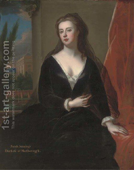 Portrait of Sarah Jennings, Duchess of Marlborough (1660-1744), seated three-quarter length, by a red curtain, in a black velvet dress by (after) Kneller, Sir Godfrey - Reproduction Oil Painting