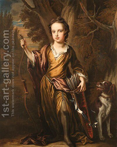 Portrait of a young Boy by (after) Sir John Baptist De Medina - Reproduction Oil Painting