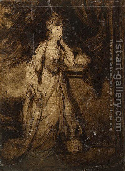 A compositional sketch for the portrait of Lady Louisa Manners, later Countess of Dysart by (after) Sir Joshua Reynolds - Reproduction Oil Painting