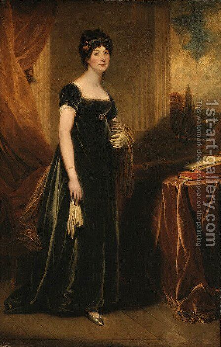 Portrait of Lady Burdett by (after) Sir Martin Archer Shee - Reproduction Oil Painting