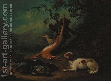 A spaniel with dead game, an extensive landscape beyond by (after) Stephen Elmer - Reproduction Oil Painting