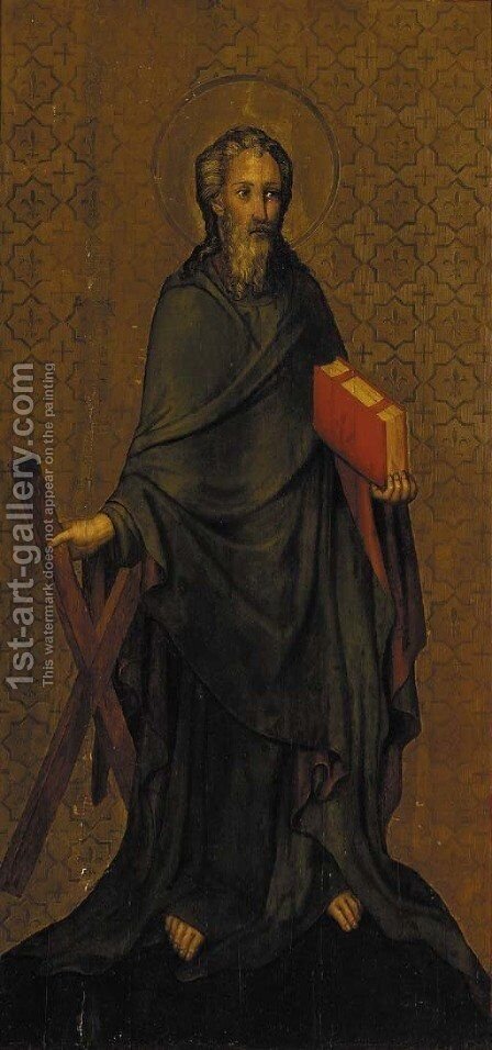 Saint Andrew by (after) The Master Of The Heiderbacher Altarpiece - Reproduction Oil Painting