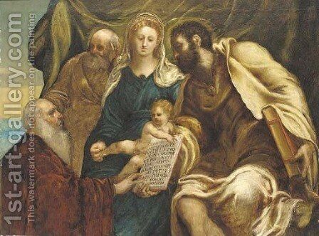 The Holy Family and the Doge Ranieri by (after) Jacopo Robusti, II Tintoretto - Reproduction Oil Painting