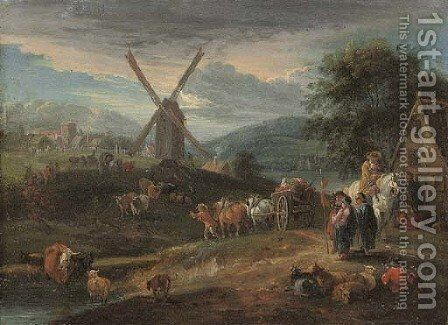 A river landscape with figures and cattle on a track, a windmill and village beyond by (after) Theobald Michau - Reproduction Oil Painting