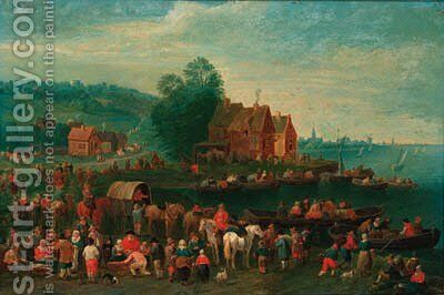 A river landscape with townsfolk waiting to alight boats, a town beyond by (after) Theobald Michau - Reproduction Oil Painting