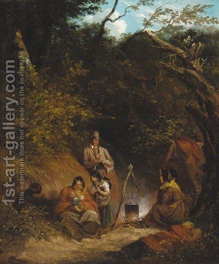 A gypsy encampment in a wooded glen by (after) Thomas Barker Of Bath - Reproduction Oil Painting