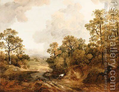A wooded Landscape with Shepherds and Cows by (after) Thomas Barker Of Bath - Reproduction Oil Painting