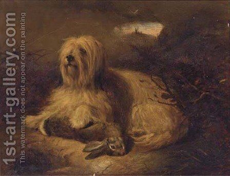 A Skye terrier with a hare by (after) Thomas Earl - Reproduction Oil Painting
