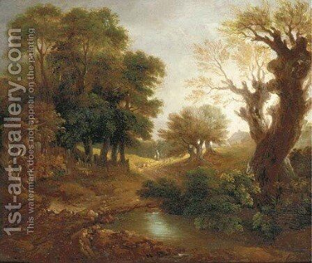 A wooded landscape with figures, a cottage and pool by (after) Gainsborough, Thomas - Reproduction Oil Painting