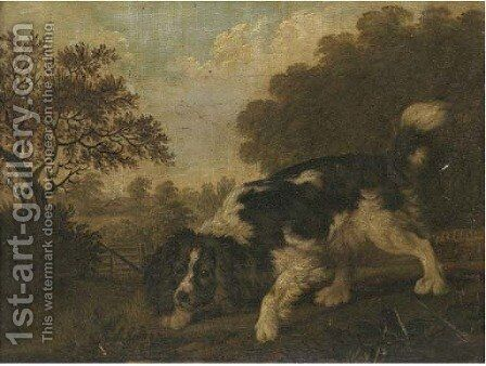 A spaniel in a landscape by (after) Thomas Gooch - Reproduction Oil Painting