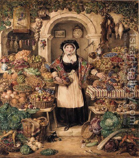 The vegetable stall by (after) Thomas Heaphy - Reproduction Oil Painting