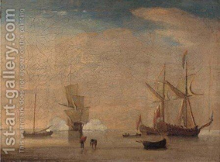 A flagship announcing her arrival at the anchorage by (after) Mellish, Thomas - Reproduction Oil Painting