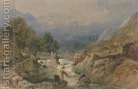 An angler contemplating the fishing pool by (after) Thomas Miles Jnr Richardson - Reproduction Oil Painting