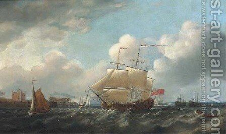 A British man-o'war passing Sheerness by (after) Thomas Mitchell - Reproduction Oil Painting