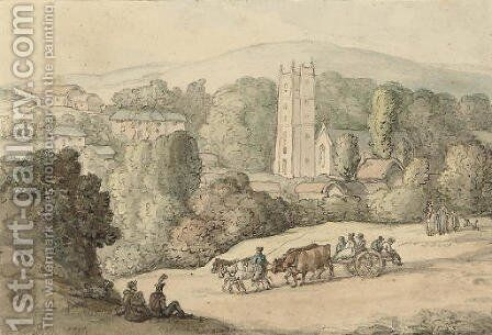 A leisurely afternoon by the village church by (after) Rowlandson, Thomas - Reproduction Oil Painting