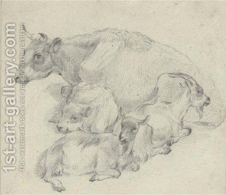Study of a cow, her calf and two goats by (after) Thomas Sidney Cooper - Reproduction Oil Painting