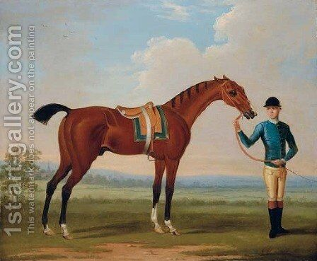Flying Childers held by a groom in an extensive landscape by (after) Thomas Spencer - Reproduction Oil Painting