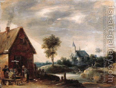 Boors playing at cards outside an inn, a church by a river beyond by (after) Thomas Van Apshoven - Reproduction Oil Painting