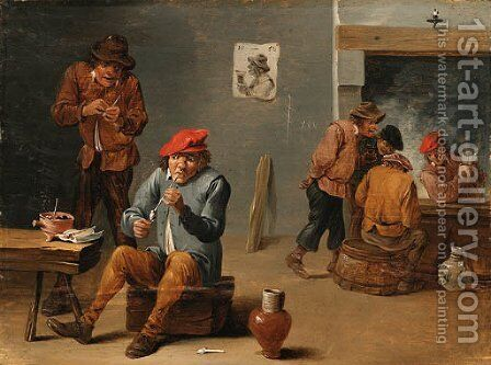 Peasants smoking and drinking in a Tavern Interior by (after) Thomas Van Apshoven - Reproduction Oil Painting