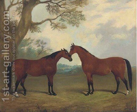 Two bay hunters in a landscape by (after) Thomas W. Bretland - Reproduction Oil Painting