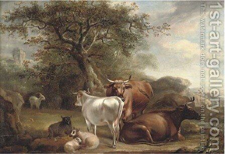 Cattle and sheep in a landcape by (after) Thomas Weaver - Reproduction Oil Painting