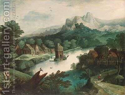 A wooded river landscape with figures by a village and a tower on an island by (after) Tobias Van Haecht (see Verhaecht) - Reproduction Oil Painting
