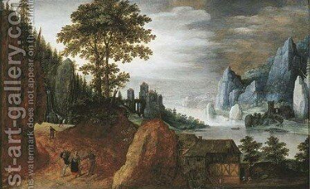 Peasants on a path in a rocky landscape, near a farmhouse with a watermill, a castle beyond by (after) Tobias Van Haecht (see Verhaecht) - Reproduction Oil Painting