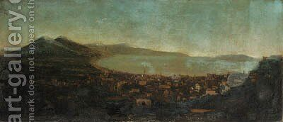 A panoramic View of Naples from the North with Vesuvius and the Bay beyond by (after) Tommaso Ruiz - Reproduction Oil Painting