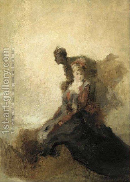 A young lady and her attendant by (after) Tranquillo Cremona - Reproduction Oil Painting