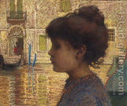 A Young Girl Beside A Venetian Canal by (after) Ugo Matania - Reproduction Oil Painting