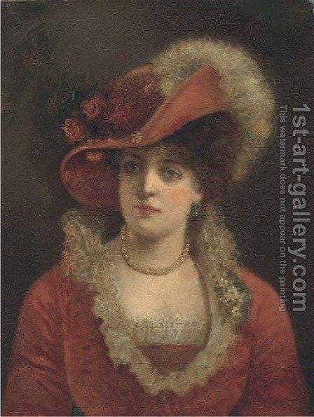 Portrait of a lady 2 by (after) Valentine Cameron Prinsep - Reproduction Oil Painting