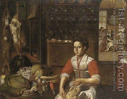 Christ in the House of Mary and Martha with a maid preparing poultry in the foreground by (after) Vincenzo Campi - Reproduction Oil Painting