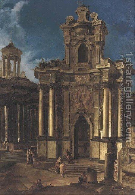 A capriccio of a Baroque church and antique ruins with figures by (after) Vittorio Maria Bigari - Reproduction Oil Painting