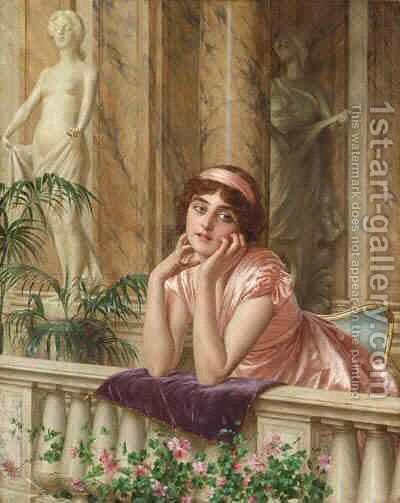 Far Away Thoughts by (after) Vittorio Reggianini - Reproduction Oil Painting