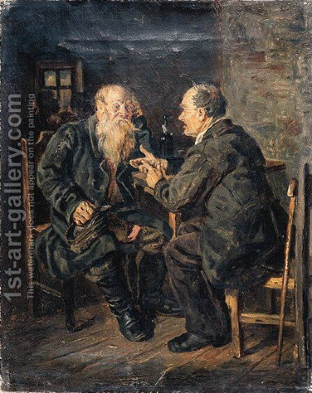 Conversation by (after) Vladimir Egorovic Makovsky - Reproduction Oil Painting