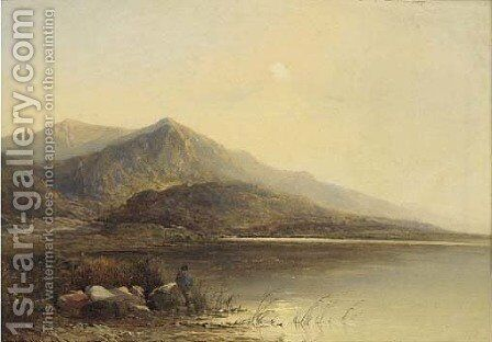 An angler in a mountainous lake landscape by (after) Walter Williams - Reproduction Oil Painting