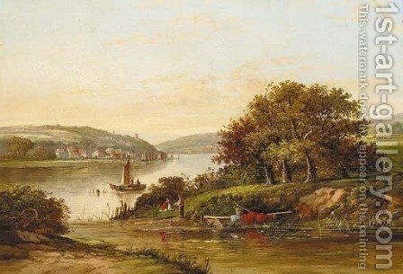 An angler on the bank of a river with a town beyond by (after) Walter Williams - Reproduction Oil Painting